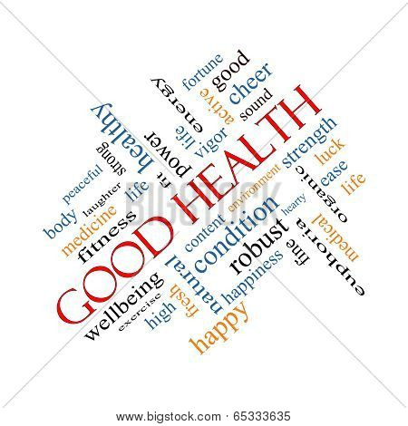 Good Health Word Cloud Concept Angled