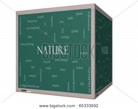 Nature Word Cloud Concept On A 3D Cube Blackboard