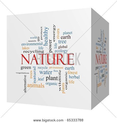 Nature 3D Cube Word Cloud Concept