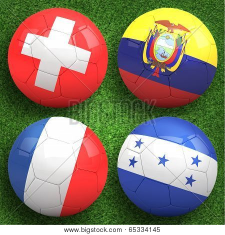 3D soccer balls with group F teams flags Football on grass