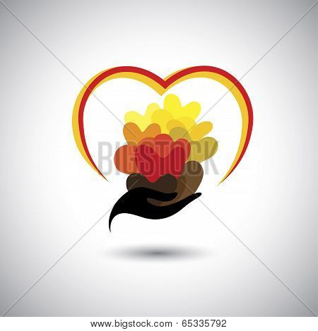 Girls Hand With Many Colorful Heart Shapes - Concept Vector Graphic