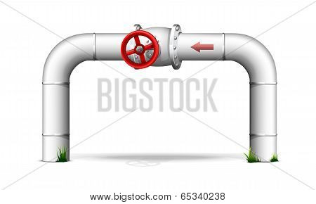 Pipe with red valve