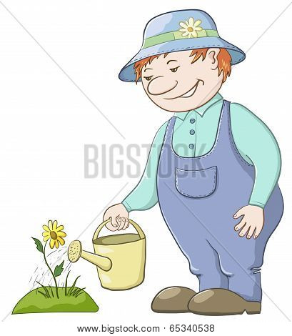 Gardener waters a flower