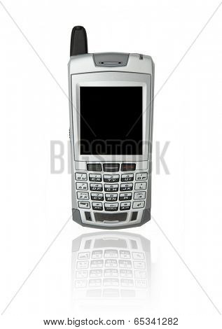 Cell phone with organizer over white background with reflection