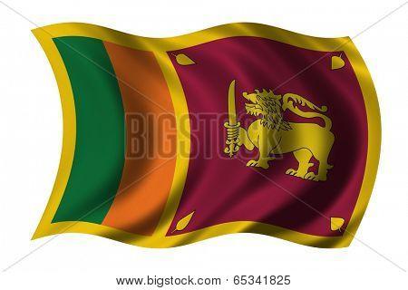 Flag of Sri Lanka waving in the wind