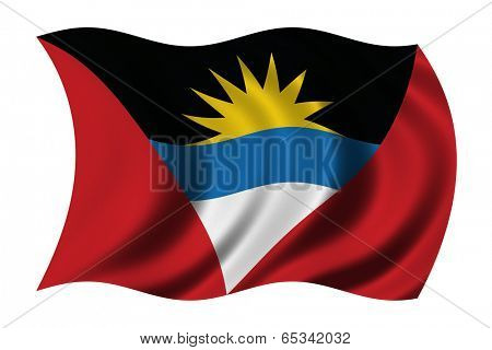 Flag of Antigua and Barbuda waving in the wind