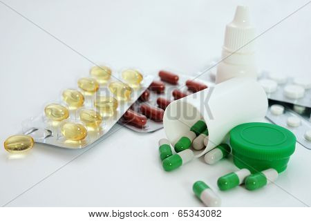 Samples of medicines, tablets, capsules and vitamins