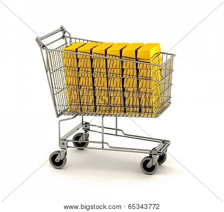 Time to invest in gold - shopping cart full of gold bars