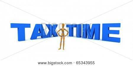 Wooden mannequin standing in front of the words Tax Time