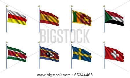 World Flag Set 22 - South Ossetia, Spain, Sri Lanka, Sudan, Suriname, Swaziland, Sweden, Switzerland