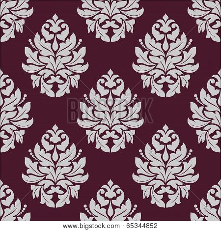 Vintage seamless pattern in carmine and white colors