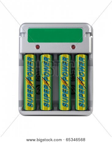 Battery charger isolated over white with fake batteries