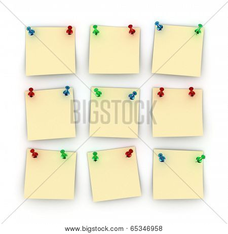 Nine Postit notes with differently colored push pins