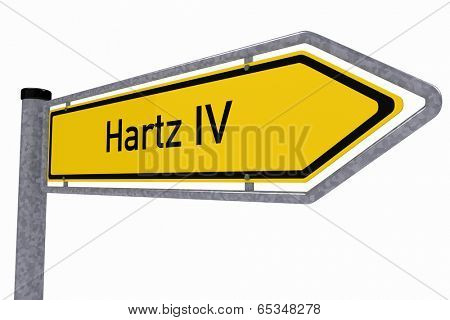 German traffic sign showing the direction to Hartz IV over white background