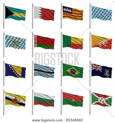 National flags with the letter B - Bahamas, Bahrain, Balearic Islands, Bavaria, Belarus, Benin, Bhutan, Bosnia, Botswana, Brazil, British Virgin Islands, Brunei, Bulgaria, Burkina Faso, Burundi