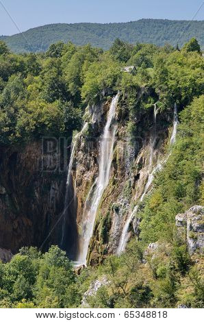 The Bigest Waterfall (veliki Slap) At Pltvice Lakes In Croatia