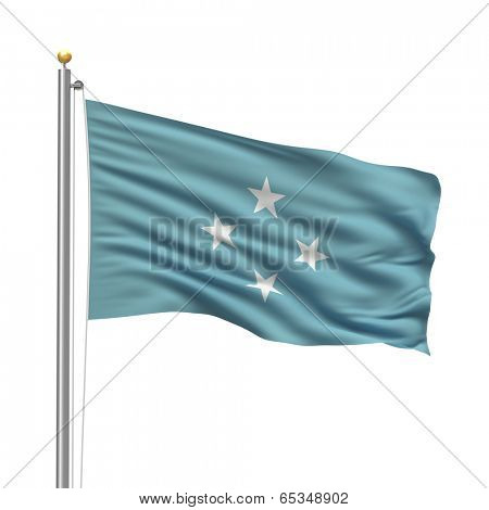 Flag of Federated States of Micronesia with flag pole waving in the wind over white background