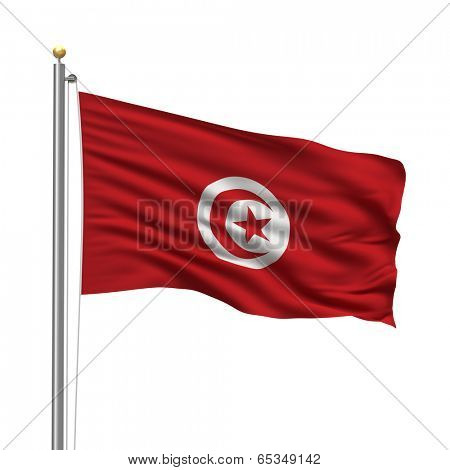 Flag of Tunisia with flag pole waving in the wind over white background