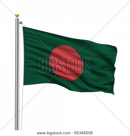 Flag of Bangladesh with flag pole waving in the wind over white background