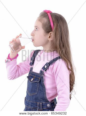 Thirsty Girl Drinking Water