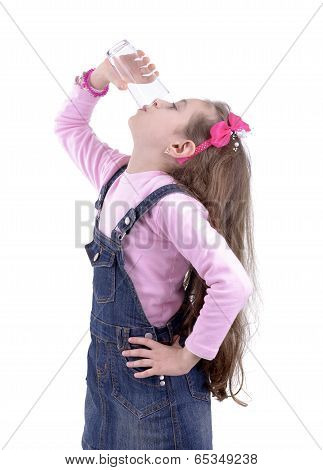 Thirsty Girl Drinking Up A Glass Of Water