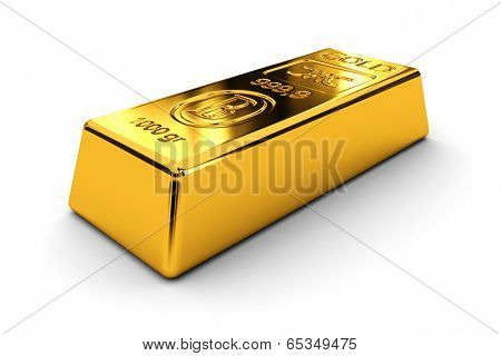 One gold bar laying on white background