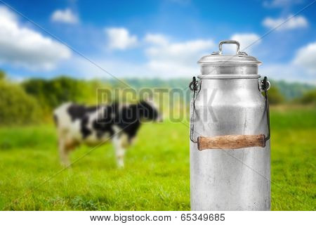 Old Aluminum Milk Can Against Cow Pasture Meadow