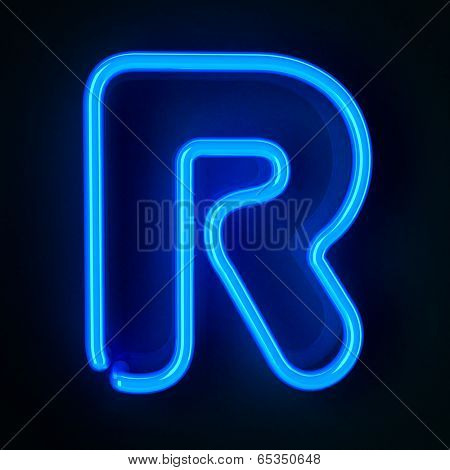 Highly detailed neon sign with the letter R