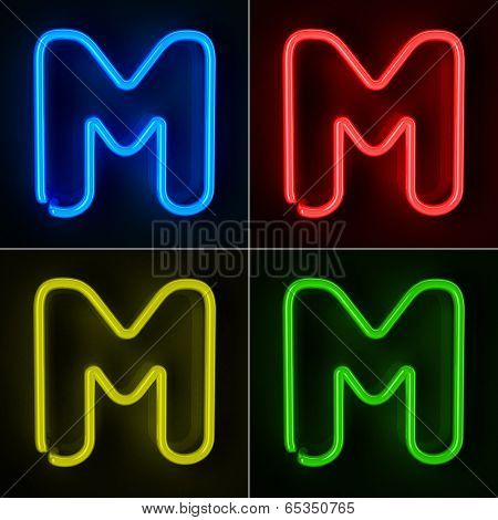 Highly detailed neon sign with the letter M in four colors