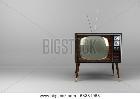 Classic vintage TV with wood veneer design in studio