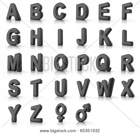 Complete alphabet set as perforated metal objects over white