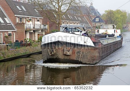 Water Canal In City Delft, Netherlands