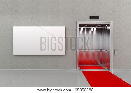 Open elevator in business lobby with a red carpet. The billboard next to the elevator is blank for your custom message.