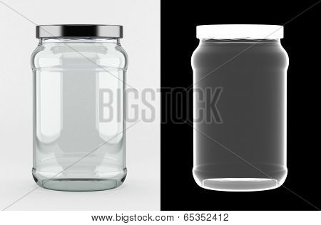 Empty glass jar with aluminum lid over white background with alpha mask for perfect isolation with transparency