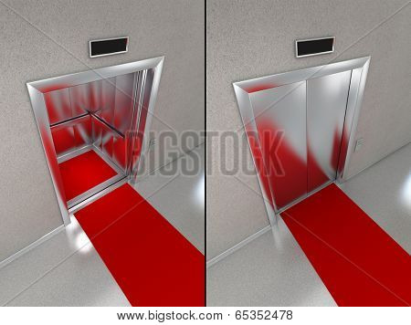 Elevator with red carpet. Two images - one with opened doors and one with closed elevator doors.