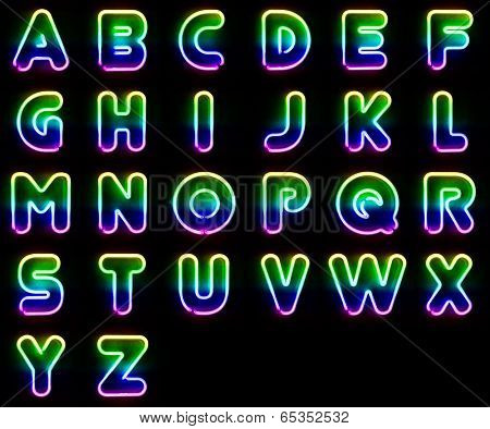 Alphabet set made out of colorful neon letters