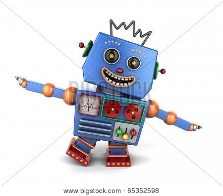 Ecstatic vintage toy robot over white background playing airplane
