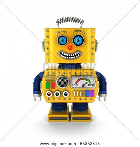 Cute vintage toy robot over white background smiling happily