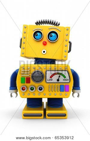 Yellow toy robot is looking surprised up in the air