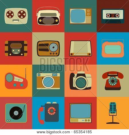 Retro Style Media Icons. Vintage Elements