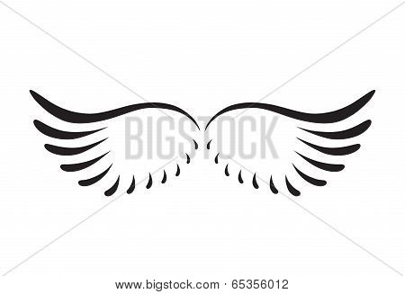 Black Abstract Silhouette Of Wings