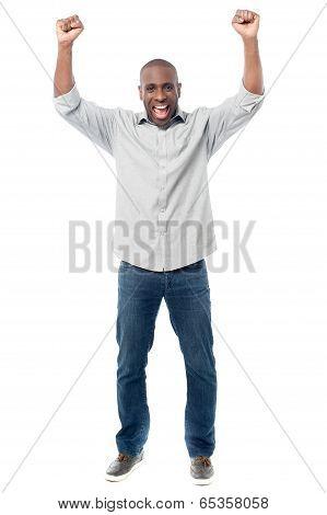 Happy Man Celebrating His Success