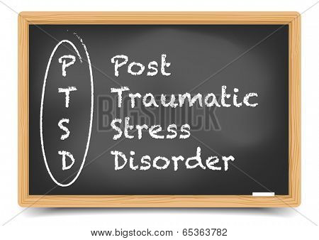 detailed illustration of a PTSD term explanation on a blackboard, eps10 vector, gradient mesh included