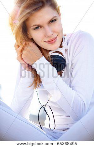 Pretty babe with headphones