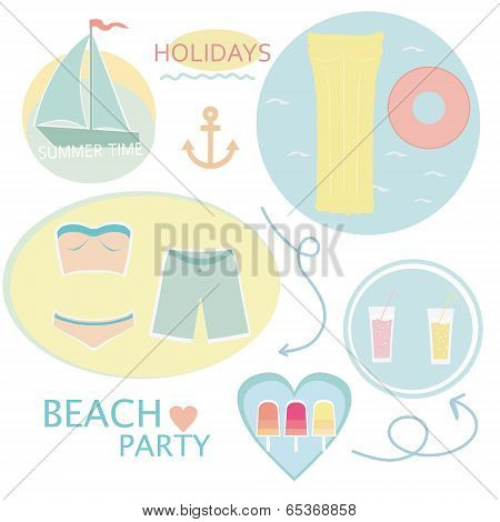 elements of a summer holiday on the beach vector background