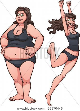 Woman going from fat to thin. Vector clip art illustration with simple gradients. Each on a separate layer.