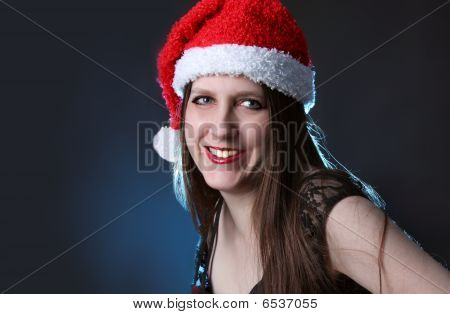 Smiling Long Haired Santa Girl