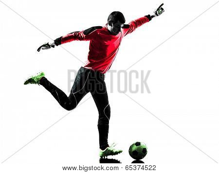 one  soccer player goalkeeper man kicking ball in silhouette isolated white background