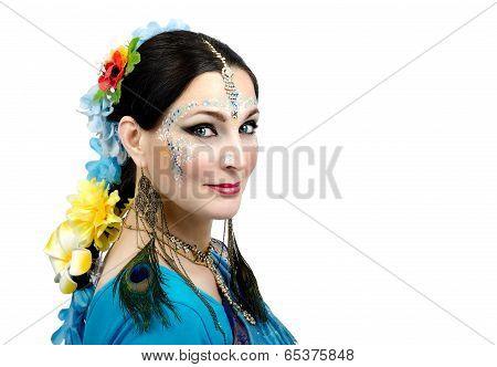 Beautiful Woman With Indian Style Facial Makeup
