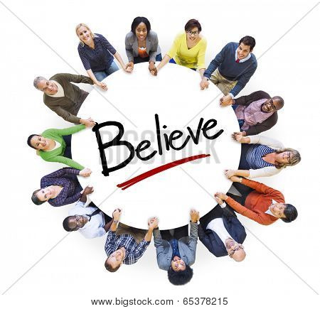 Multi-Ethnic Group of People Holding Hands and Belief Concept